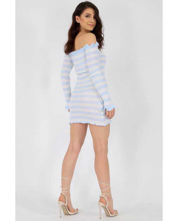 Tettsittende Knit Dress Blue