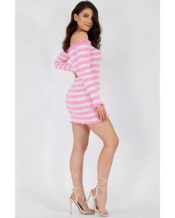 Tettsittende Knit Dress Rosa