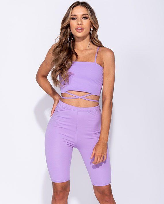 High Waist Bike Shorts Lilac