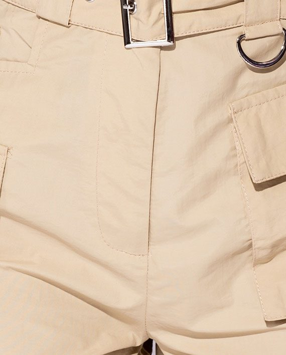 High Waist Cargo Shorts Beige