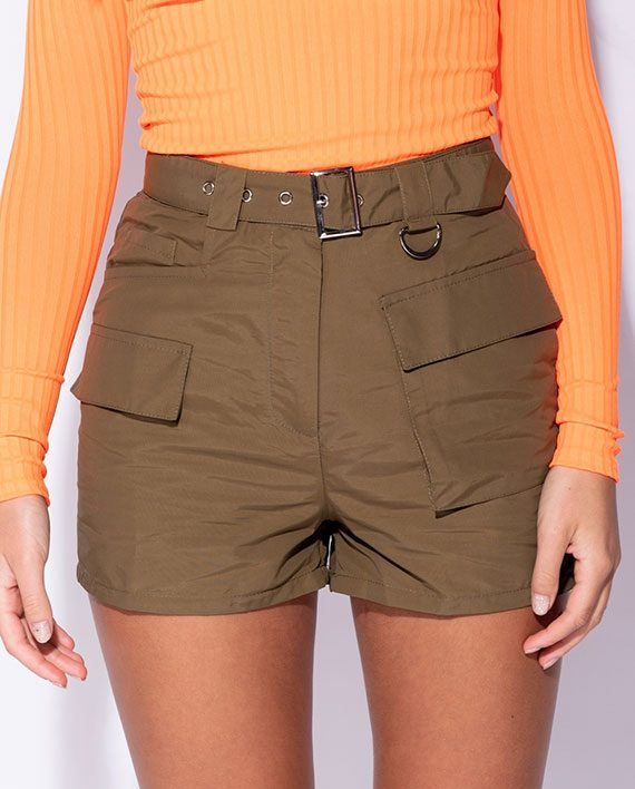 High Waist Cargo Shorts Khaki